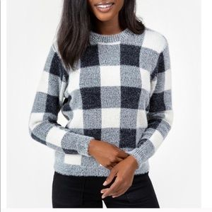Francesca's Black + White Pullover Fuzzy Sweater